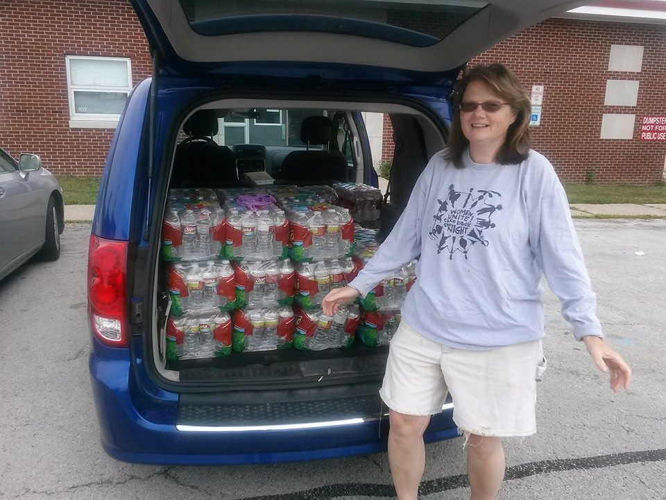 Shawn Dowling getting 42 cases of water from Enpuzzlement to give to our invalid and shut in veterans. All who now have homes because you supported Veterans Matter. Thank you Michelle Smith Marks and Roy Badenhop for making this possible.